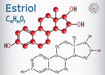 Estriol E3 (estrogen, minor female sex hormone ) - structural chemical formula and molecule model. Sheet of paper in a cage