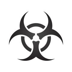 Biohazard illustration toxic sign, symbol. Warning radioactive zone triangle icon isolated on gradient background Radioactivity Dangerous radiation area symbol white black. Chemistry poison mark 3d