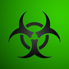 Biohazard illustration toxic sign, symbol. Warning radioactive zone triangle icon isolated on white background Radioactivity Dangerous radiation area symbol green black. Chemistry poison triangle 3d.