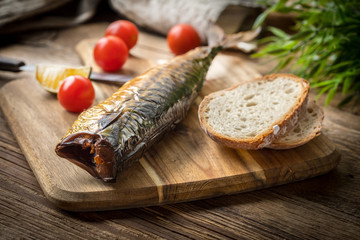 Smoked mackerel and bread.