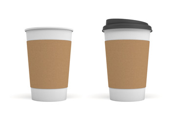 3d rendering of two white coffee cups with carton sleeves one, one cup with a black lid and one open.