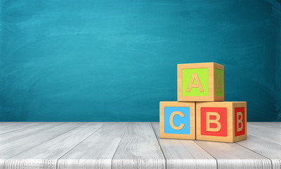 3d rendering of three toy blocks of different colors with letters A, B and C on them standing on a wooden desk.