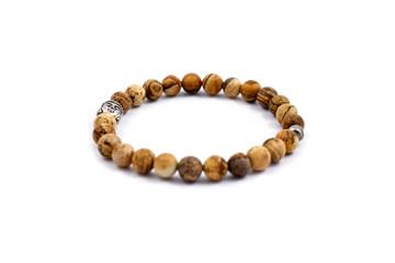 Bracelet beads stock images. Bracelet with buddha head. Jewel on a white background. Buddha Bracelet
