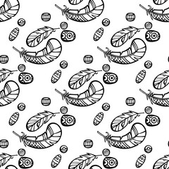 Seamless pattern black and white with hand-drawn feathers. Vector illustration. White bacground.