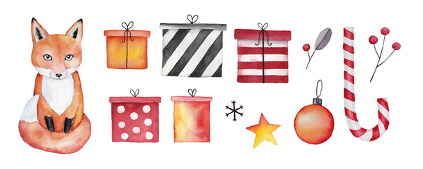 Christmas and New Year fox collection. Set of Christmas icons, watercolor illustration isolated on white background. Cute fox, gift boxes, presents, candy cane, ball, star, berries, leaves, branches.