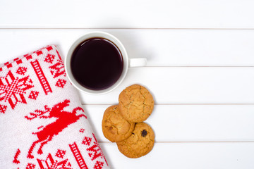 Blanket plaid cup of coffee biscuits