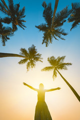 Silhouette of Happy Woman Over Sunset and Palms