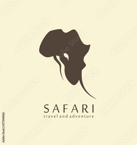 Safari Logo Design Idea With Elephant Head And Shape Of Africa Continent Travel
