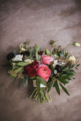 Juliet garden rose and pink ranunculus wedding floral bouquet