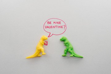 Funny Dinosaurs in Love on Valentine's Day