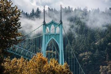 St. Johns Bridge on an autumn morning in Portland, OR