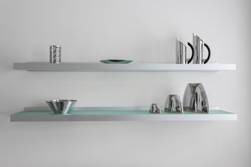 Contemporary wall shelving with modern kitchen items