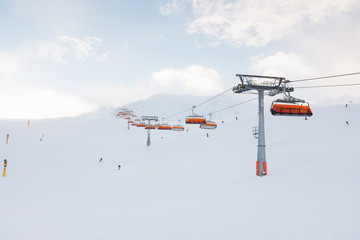 Skiing slope and chairlift