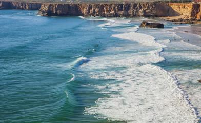 The coast of Southern Portugal, Algarve region, Atlantic Ocean.