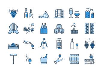 04 Blue WINE PRODUCTION icon set