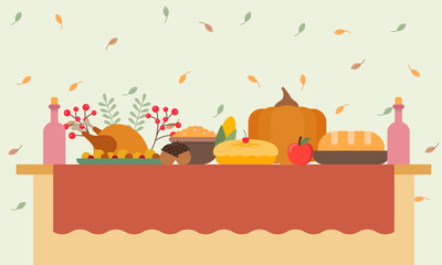 Vector illustration of a big banquet table with drinks and eating fruit. Festive holiday dinner. Christmas table. Flat style. Table for Thanksgiving Day.