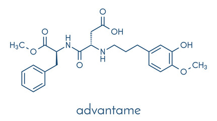 Advantame (E969) sugar substitute molecule. Skeletal formula.