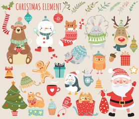 Set of Christmas and New Year elements with animals and Santa. Vector illustration.