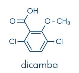 Dicamba herbicide molecule. Used in weed control. Skeletal formula.