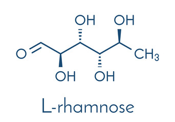 Rhamnose (L-rhamnose) deoxy sugar molecule. Used in cosmetics to treat wrinkles. Skeletal formula.