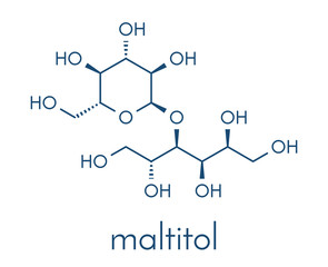 Maltitol sugar alcohol sweetener molecule. Skeletal formula.