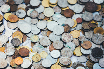 Lots of coins of different countries