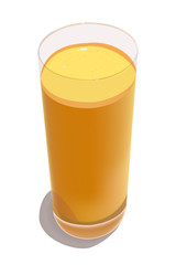 Glass with freshly squeezed orange juice on a white background