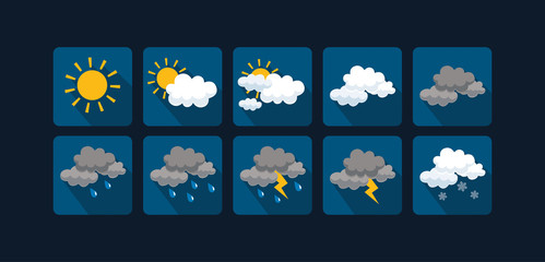 Weather vector icons  flat design - Set1 Wall mural