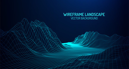 Abstract digital landscape with particles dots and stars on horizon. Wireframe landscape background. Big Data. 3d futuristic vector illustration. 80s Retro Sci-Fi Background Wall mural