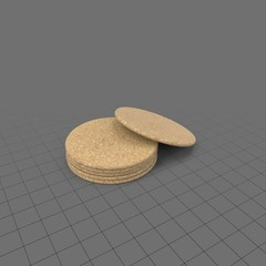 Set of round cork coasters