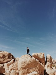 Man standing on top of boulders in Joshua Tree National Park
