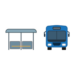 Bus near the bus stop in the city. Public transport simple icons set