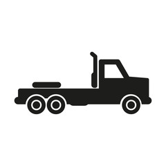 Truck without trailer simple icon silhouette on white background.