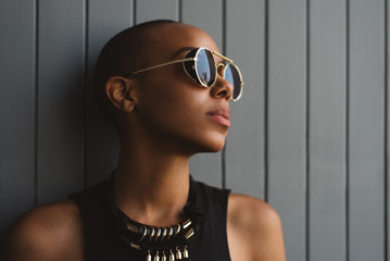 Beautiful African American Young Woman With Short Hair
