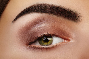 Close-up Beauty of Woman's eye. Sexy smoky Eyes Makeup with brown Eyeshadows. Perfect strong Shape of Eyebrows