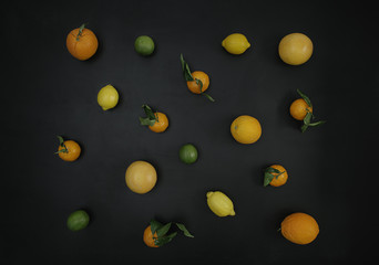 Citrus varieties on a blackboard
