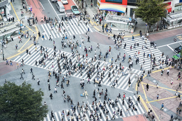 Crowd of people from above at Shibuya Scramble Intersection