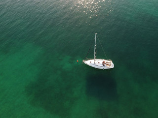 aerial view of docked sailing boat