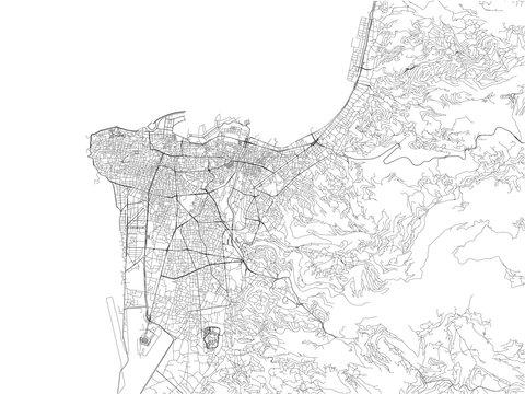 Strade di Beirut, cartina della città, Libano. Mappa