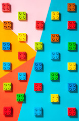 Pattern of colorful stacking blocks for kids.