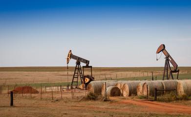 Oil Pumps ( Pumpjacks) and Hay Bales