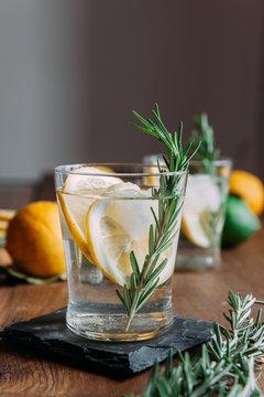 Fresh lemon juice with rosemary