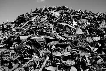 Old iron junkyard in black and white