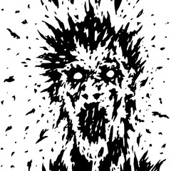 The screaming face of a ghost with protruding hair and blood splatters. Vector illustration.