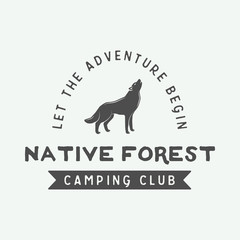 Vintage camping outdoor and adventure logo, badge, labels, emblem, mark. Graphic Art. Vector Illustration.
