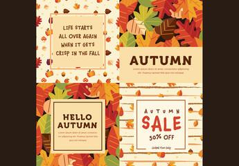 Set of 4 Square Autumn Cards 2