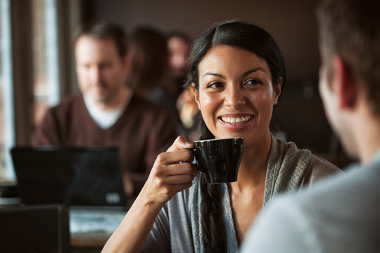 Cafe: Woman Have Coffee With Friend In Restaurant