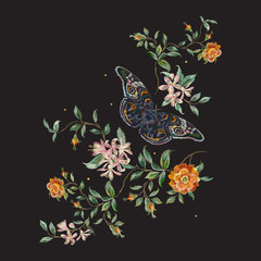 Embroidery trend floral pattern with wild roses and butterfly. Vector traditional design set with flowers for wearing.