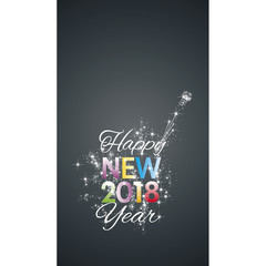 Happy New 2018 Year firework color white black vector