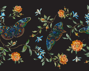 Embroidery floral seamless pattern with wild roses and butterflies. Vector traditional design set with flowers for wearing.